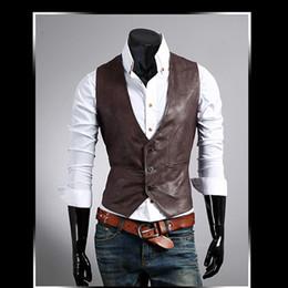 $enCountryForm.capitalKeyWord NZ - Men Leather Dress Vest Autumn Spring Style High Quality Fashion Chaleco Hombre Casual Brown Suit Vest Men Slim Pu Men Vest