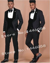 $enCountryForm.capitalKeyWord Australia - Custom-made One Button Groomsmen Shawl Lapel Groom Tuxedos Men Suits Wedding Prom Dinner Best Man Blazer(Jacket+Pants+Tie+Vest) A111