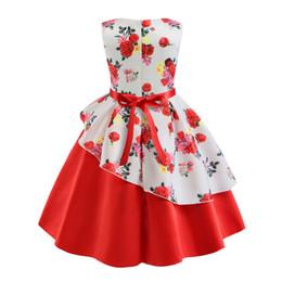 2020 nouvelles filles robe jupe irrégulière enfants Robe imprimée costumes d'arc de vente Halloween en Solde