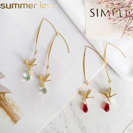 Discount blue gold dangle earrings - 2019 Korean Fashion Summer Crystal Earrings With Gold Crane Long Dangle Earrings Personality Little Bird Blue Water Drop