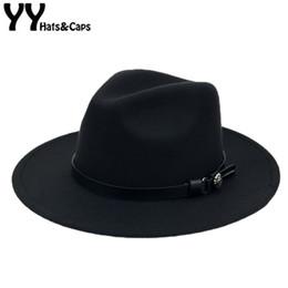 $enCountryForm.capitalKeyWord Australia - Winter Wool Panama Hats Men Solid Color Wide Brim With Belt Felt CAPS Women Vintage Jazz hat Vintage Trilby CAPS Church YY18007 D19011102