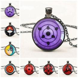 Naruto Pendants Australia - 20pcs New Sharingan Eye Necklace Vintage Naruto Jewelry National Style Chain Glass Pendants Necklaces Anime Pendant C19041203