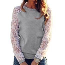 Lace Splice T Shirt Australia - Women Sheer Lace Long Sleeve T Shirt Crochet Lace Splice Plus Size T-shirt Slim Casual Basic Pullover Tops Female Leisure Tshirt