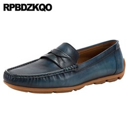 d441787ca48391 driving men office runway blue loafers wedding european brand custom  handmade shoes slip on formal dress italian Italy vintage