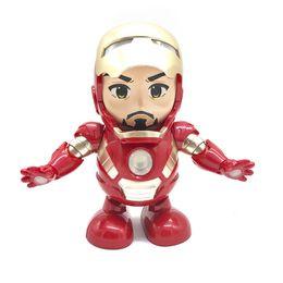 Iron Hero Figure Australia - Dance Hero Iron Man Robot Dancing Iron Man Action Figures LED Flashlight with Sound Avengers Superhero Doll Toys for Kids