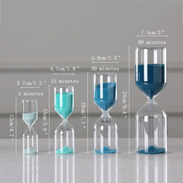 wholesale gifts homes NZ - Creative Glass Sand Clock Hourglass Ornaments Blue Time Counter Count Down Timer Sand Hourglass Crafts Home Office Decor Gifts