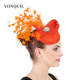 Vintage headpieces hats online shopping - Elegant ladies wedding vintage fascinator hat headbands with fancy feather headwear gorgeous female millinery women dinner party headpiece