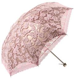 $enCountryForm.capitalKeyWord UK - Three Folding Umbrella Anti-UV Parasol Photography Prop Sunshade Umbrellas Women Sun Rain Umbrella Princess Lace 50Ry112