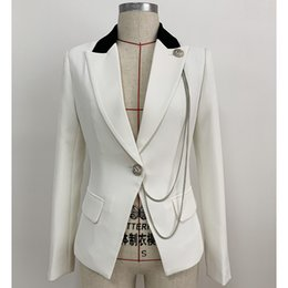 $enCountryForm.capitalKeyWord Australia - 2019 Designer Blazer Jacket for Women Single Button Metal Chain Decoration Color Block Collar Slim Fitting Blazer Small suit top J1