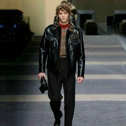 Black Lapel Sleeveless Zipper Australia - Luxury Designer Coat Male Lapel Letters LOGO Fur Zipper Leather Jacket Black Jacket Fashion Man And Woman High Quality Coat HFWPJK113