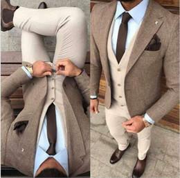 Harris tweed vest online shopping - Handsome Winter Tweed Fabric Man Business Suits Beige Groom Tuxedos Men Prom Party Coat Trousers Sets Jacket Vest Pants Tie K34