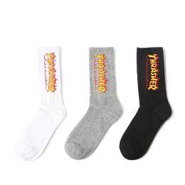 $enCountryForm.capitalKeyWord Australia - 2019 New Fashion Men Women Designer Socks Cotton Couple Tube Stockings TH Hip Hop Skateboard Flame Socks for Men Free Size