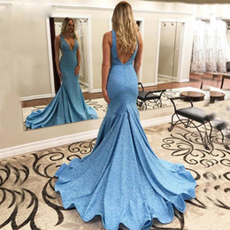 Long taiL t shirts online shopping - Elastic Spandex Simple Evening Dress Long Train Sexy V Neck Open Back Fish Tail Light Blue Evening Gown Formal Dress Prom