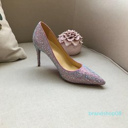 crystal sole shoes Canada - Brand Red Bottom High Heels Rhinestone Crystal Shoes Studded Women Pumps Pointy Toe Dress Shoes Red Sole Wedding Shoes
