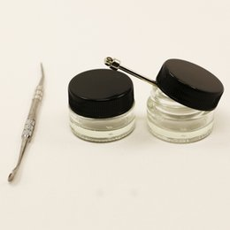 Oil Slick Containers Australia - small MOQ dab wax oil concentrate hardened glass container 5ml slick butane hash oil glass jar with black lid