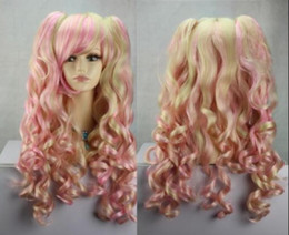 hot pink curly wig NZ - WIG LL Wholesale price Hot Sell! TSC^^^^ new pink light blonde mix long curly cosplay wig + two ponytails