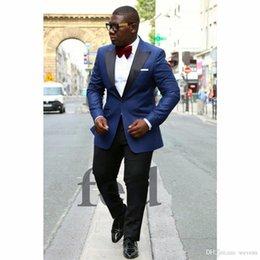 Plus Size Navy Blue Suit Australia - Navy Blue Suit and Black Pant Suits for Mens One Button Black Peaked Lapel Groom Wear Plus Size Wedding Tuxedos
