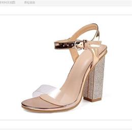 $enCountryForm.capitalKeyWord Australia - Crystal Sandals Woman 10CM Chunky Heels Size 35-42 High Heel Sandals Women Shoes Summer 2019 Block Heel Shoes sandalias planas