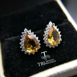 brazil earrings Australia - TBJ,925 silver earring stub with natural brazil garnet pear7*9,nautral citrine gemstone earring for girls with gift box