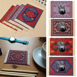 pattern decor NZ - 27x18cm Persian Mini Woven Rug Mat Mousepad Retro Style Carpet Pattern Cup Mouse Pad with Fringe Home Office Table Decor Craft