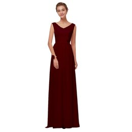 wine bridesmaid dresses long Australia - Beauty Emily Wine Red Chiffon Bridesmaid Dresses 2019 Long for Women A-line Party Prom Dresses Wedding Party Bridal