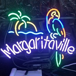 margaritaville lights 2019 - MARGARITAVILLE Neon Sign Bar Holiday Display Advertising Home Decoration Wall mounted Real Glass Light Metal Frame Size