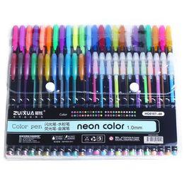 $enCountryForm.capitalKeyWord NZ - 12 24 36 48 Colors set Gel Pens Glitter Metallic Pens Gifts For Coloring Kids Sketching Painting Drawing School Supplies