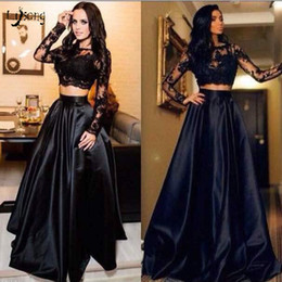 Girl prom suits online shopping - Fashion Black Two Pieces Prom Gown Dresses Suit Lace Long Sleeves Crop Top High Quality Corset Graduation Lady Girl Prom Party Event Wear
