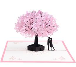 Tarjeta de felicitación 3d Rosa romántica flor de cerezo Tarjeta estéreo 3D Cerezo talla de papel Tarjeta hecha a mano Regalo de cumpleaños Regalo de San Valentín en venta