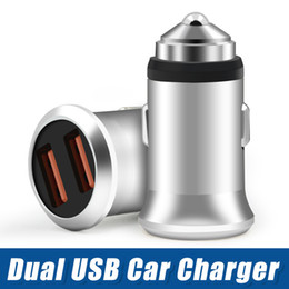 Car Chargers For Usb Australia - Metal USB Car Charger 5V 2.4A Universal Vehicle Dual Port High-Speed Charging For iPhone 6 7 8 Samsung S8 Phone