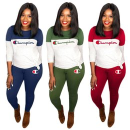 skateboarding clothing NZ - Champions Plus Size 2 Piece Set Women Hoodies+Pants Sports Suit Pullover+Leggings Outfits S-3XL Tracksuit Fall Winter Clothes Sweatsuit 1478
