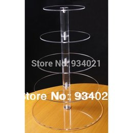 cupcake display stands Canada - kids party supplies!5 Tier Clear Round Acrylic Wedding Maypole Cupcake Display Stand Lucite Birthday Cake Stand decoration