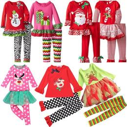$enCountryForm.capitalKeyWord NZ - Samgami Baby Childrens Girls Boutique Outfits Clothing Sets Christmas Santa Long Sleeve Tops Ruffle Pants Suits girls christmas dress set
