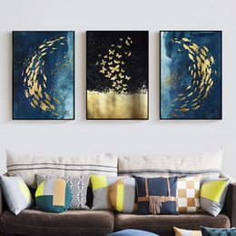 $enCountryForm.capitalKeyWord Australia - Oil Painting Nordic style living room bedside wall painting triple decorative core with golden fish background Mural