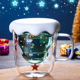 mug christmas gifts NZ - Cute Christmas Tree Mug Double Wall Glass Coffee Cups with Silocone Lid Snowflake Star Xmas Gift Wine Tea Milk Water Tumbler