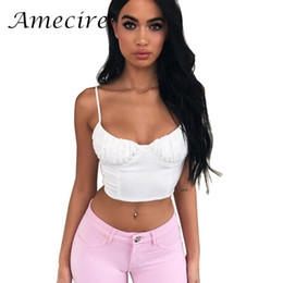 white crop tops outfit großhandel-Amecire New Basic Camis Top Female Sexy Backless Querverband Crop Tops Sexy Weiß Schwarz Bustier Street Wear Outfits Tops