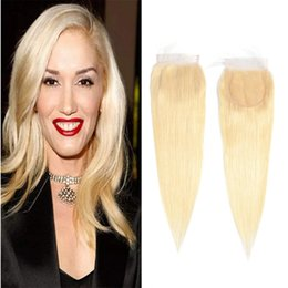 straight human hair middle part closure 2019 - Brazilian Virgin Hair 4X4 Lace Closure 613# Blonde Straight Human Hair Lace Closure With Baby Hair 10-22inch cheap strai