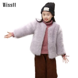 pink faux fur coat girls 2019 - WISSTT Toddler Soft cute Fur Coat Baby Girls Faux Fox Fur Coat O-Neck Kids Ruffly Clothes Solid Winter For Girls cheap p