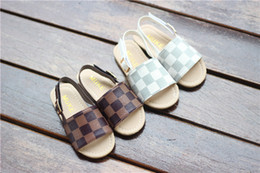 Korean heeled shoes online shopping - Summer new child sandals Korean Girl Beach shoes Princess shoes child flip flop Baby white brown size