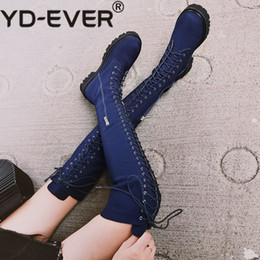 Lace yds online shopping - YD EVER denim round toe thick heels British school cross tied rock European designer western cowboy over the knee boots