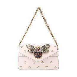 $enCountryForm.capitalKeyWord Australia - Broadway Leather Metal Honey Pearl Rivet Shoulder Bag Shoulder Bag Totes Handbags Shoulder Bags Backpacks Wallets Purse