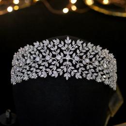 $enCountryForm.capitalKeyWord Australia - High quality Cubic Zirconia Wedding Princess Tiara Crown Women Girl Graduation Hair Jewelry Accessories Real Plated