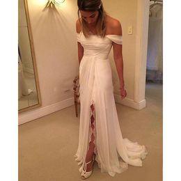 Sheath Wedding Dresses Split Australia - Setwell 2019 Summer Strapless Sheath Beach Wedding Dress Off the Shoulder Pleated Floor Length Chiffon Lace Bridal Gown With Split