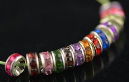 Wholesale Cheap! free shipping 500pcs lot mixed 8mm crystal Spacer Rondelle Spacer Silver Plated Bead for bracelet hotsale DIY Findings Jewelry