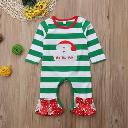 $enCountryForm.capitalKeyWord Australia - christmas baby kid clothes Santa Claus green-striped bow-knotted bellbottoms long sleeved jumpsuits baby girl crawling clothes CJY656
