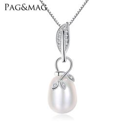 Necklaces Pendants Australia - PAG&MAG High Quality Solid Silver Pendant For Women Fashion Real Natural Pearl Necklace 925 Sterling Silver Jewelry Lowest Price