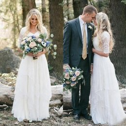 Light coraL Lace dress Long online shopping - Boho Country Wedding Dresses Lace Chiffon Modest V Neck Half Sleeves Long Bohemian Bridal Gowns Plus Size Robe de mariée en dentelle