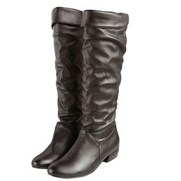 $enCountryForm.capitalKeyWord Australia - Big Size Fashion Knee High Women Boots Winter Pointed Toe Female Long Boots Pu Leather Rubber High Heels Boots