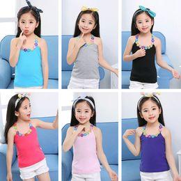 $enCountryForm.capitalKeyWord Australia - Summer Girl T Shirt Cotton Flower Applique T Shirt For Girl Tops Tees Kids Baby T-shirt Cotton Clothes Tops