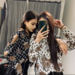 Wholesale brother prints for sale – custom 2020 Early spring society shirt quick hand web celebrity big baby douge brother with the trend print lapel shirt shirt female